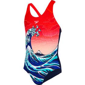 speedo OrigamiWave Placement Digital Swimsuit Girls, navy/red
